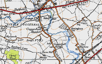 Old map of White Barn in 1945