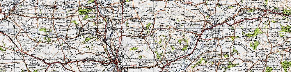 Old map of Coity in 1947