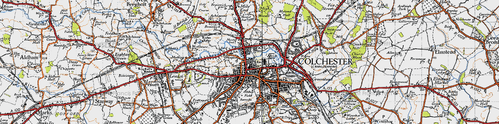 Old map of Colchester in 1945