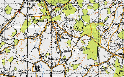 Old map of Cold Ash in 1945