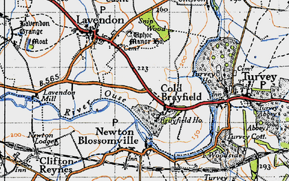 Old map of Cold Brayfield in 1946