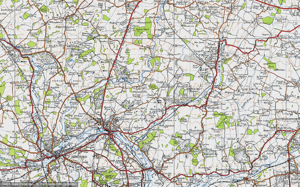 Old Map of Historic Map covering Ashridge Common in 1946