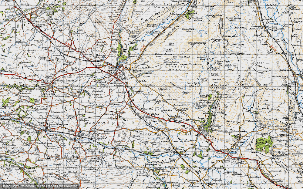 Old Map of Historic Map covering Whinney Mire in 1947