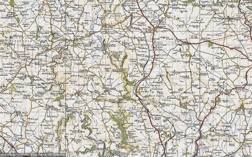 Old Map of Historic Map covering Liffs, The in 1947