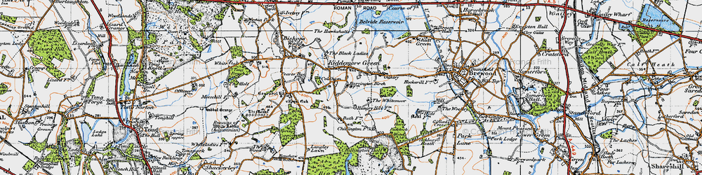 Old map of Whitemoor, The in 1946