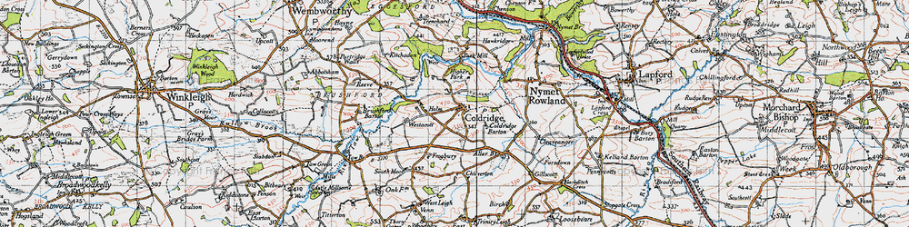 Old map of Aller Br in 1946