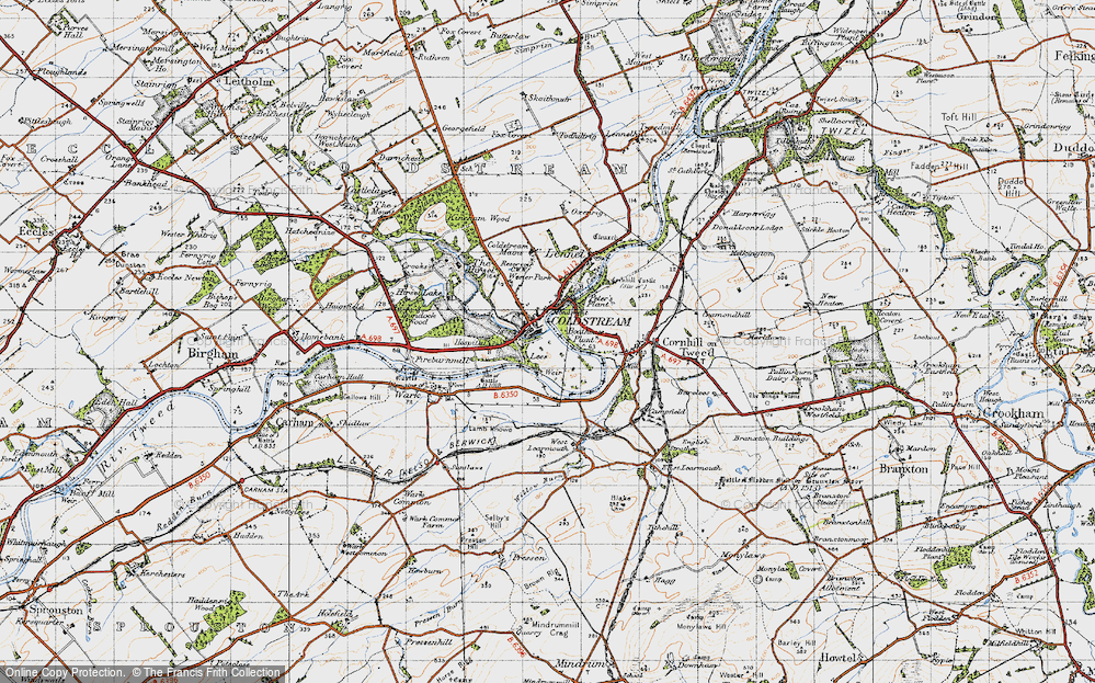 Old Map of Historic Map covering Lees in 1947