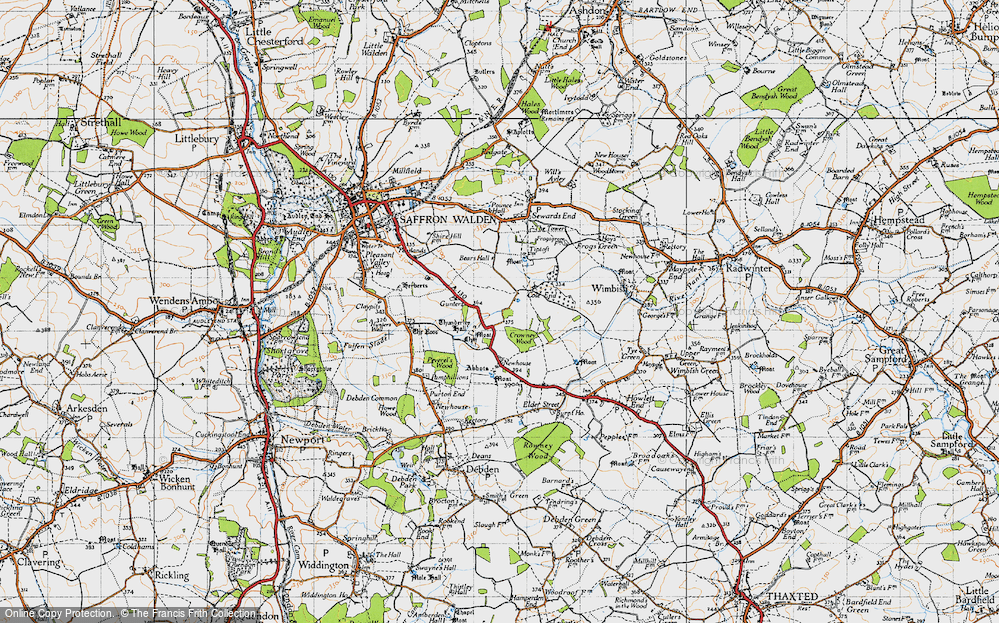 Old Map of Historic Map covering Abbots in 1946