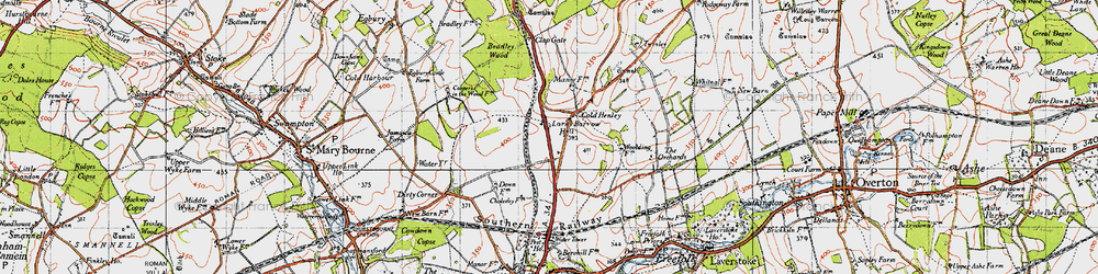 Old map of Whitnal in 1945