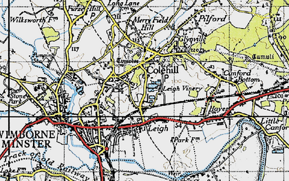 Old map of Colehill in 1940