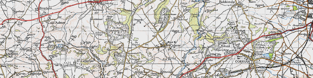 Old map of Colerne in 1946
