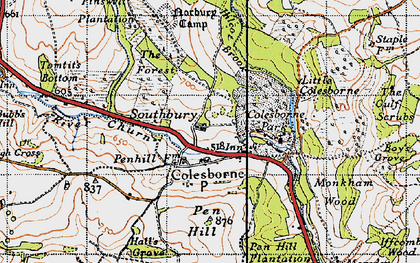 Old map of Colesbourne in 1946