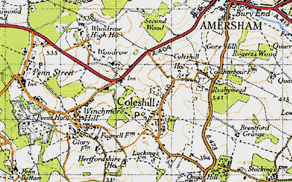 Old map of Coleshill in 1946