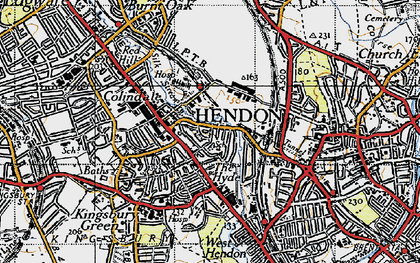Old map of Colindale in 1945