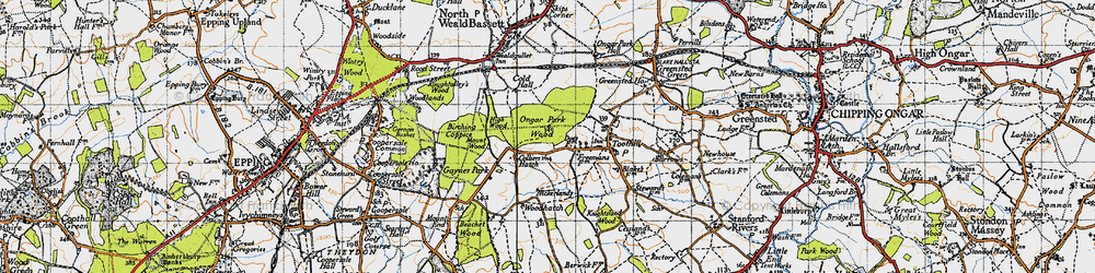 Old map of Woodhatch in 1946