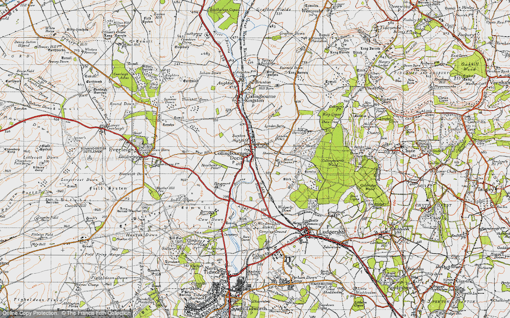 Old Map of Historic Map covering Windmillhill Down in 1940