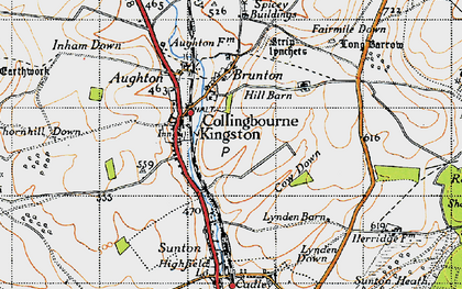 Old map of Collingbourne Kingston in 1940