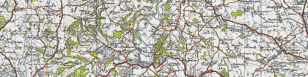 Old map of Whitbourne Ford in 1947