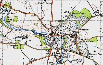 Old map of Coln St Aldwyns in 1947