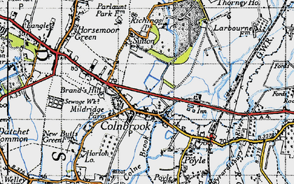 Old map of Colnbrook in 1945