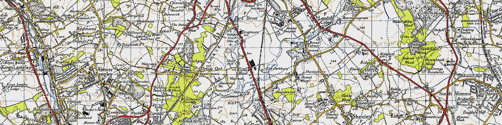 Old map of Colney Street in 1946
