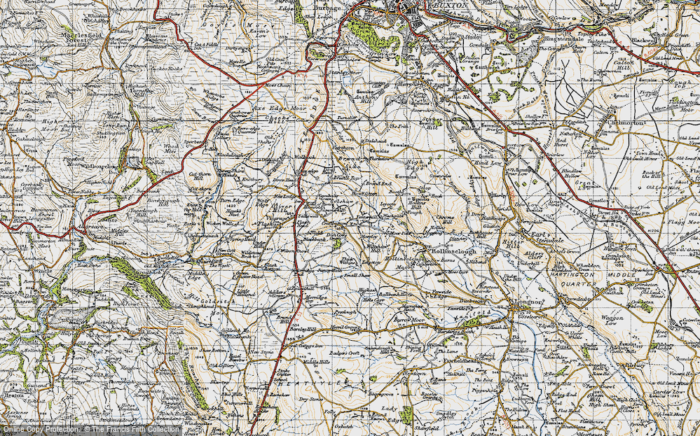 Old Map of Historic Map covering Axe Edge End in 1947