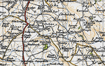 Old map of Axe Edge End in 1947