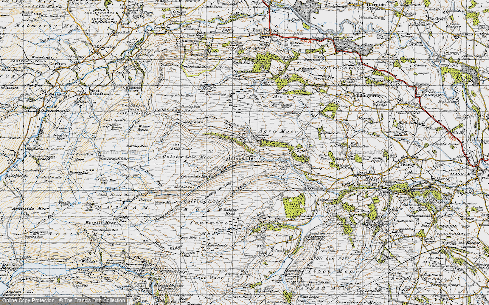 Old Map of Historic Map covering Baldcar Head in 1947