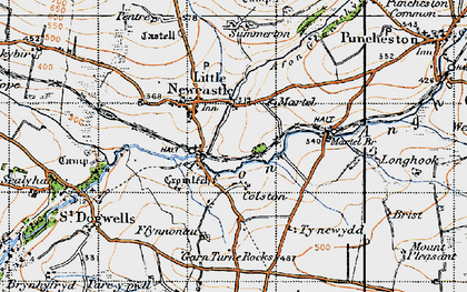 Old map of Afon Glan-rhyd in 1946
