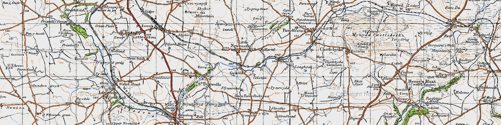 Old map of Afon Glan-rhyd in 1946