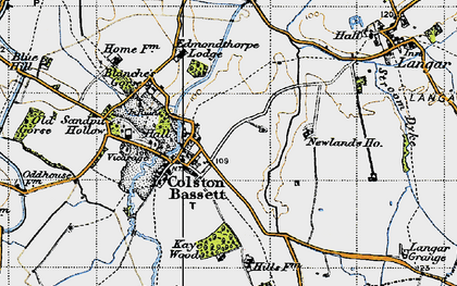 Old map of Colston Bassett in 1946