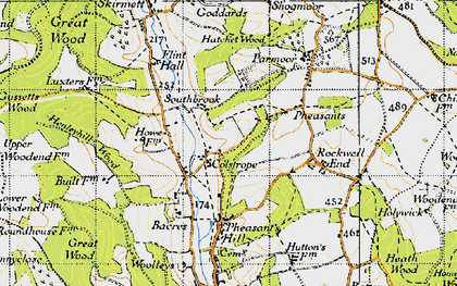 Old map of Colstrope in 1947