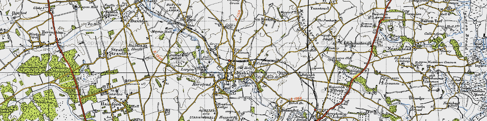 Old map of Coltishall in 1945
