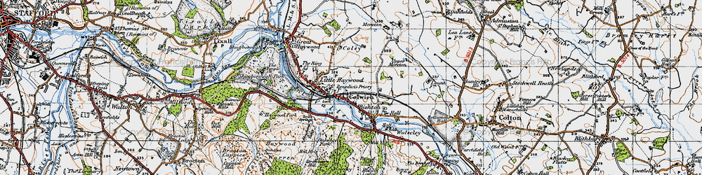 Old map of Colwich in 1946
