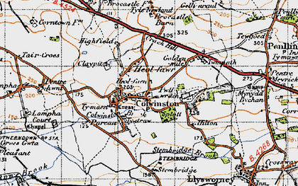 Old map of Colwinston in 1947