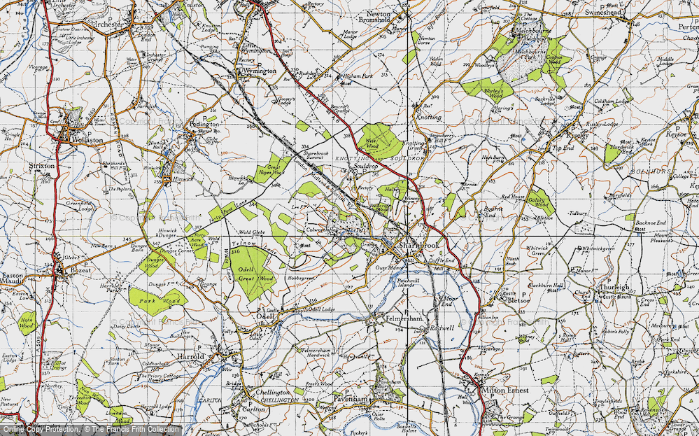 Old Map of Historic Map covering Tofte Manor in 1946