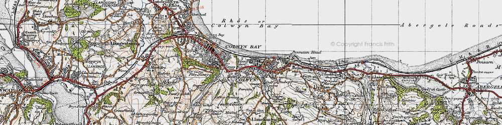 Old map of Colwyn Bay in 1947