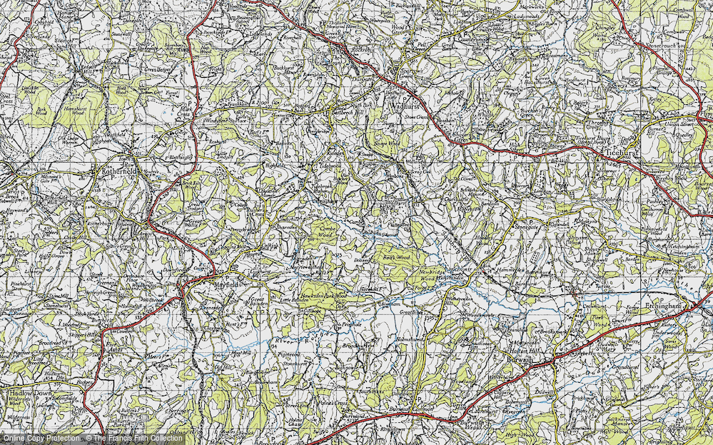 Old Map of Historic Map covering Wadhurst Park in 1940