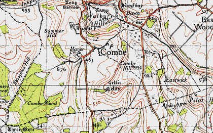 Old map of West Woodhay Down in 1945