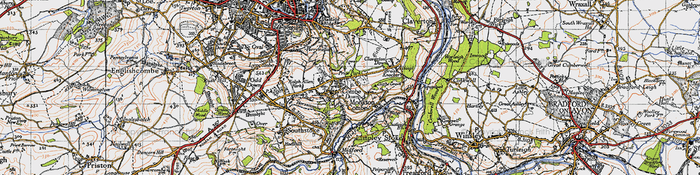 Old map of Combe Down in 1946
