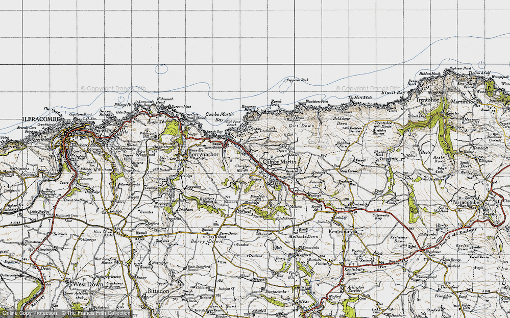 Old Map of Historic Map covering Lester Cliff in 1946