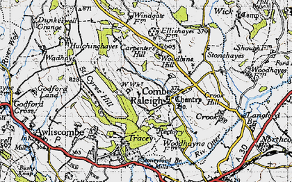 Old map of Combe Raleigh in 1946