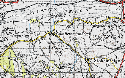 Old map of Combeinteignhead in 1946