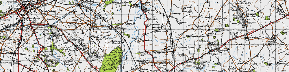 Old map of Wiggington Fields in 1946