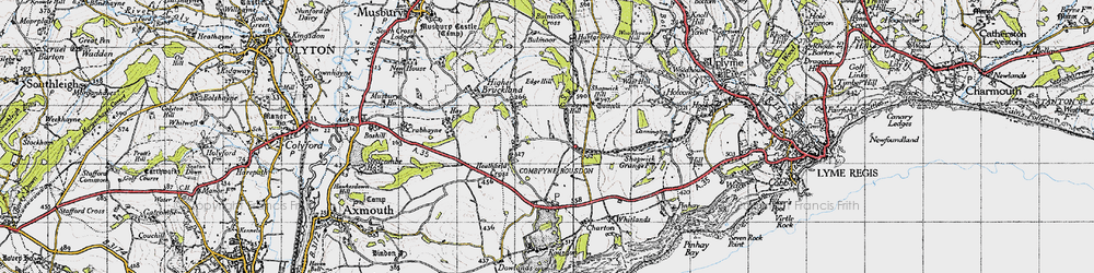 Old map of Combpyne in 1945
