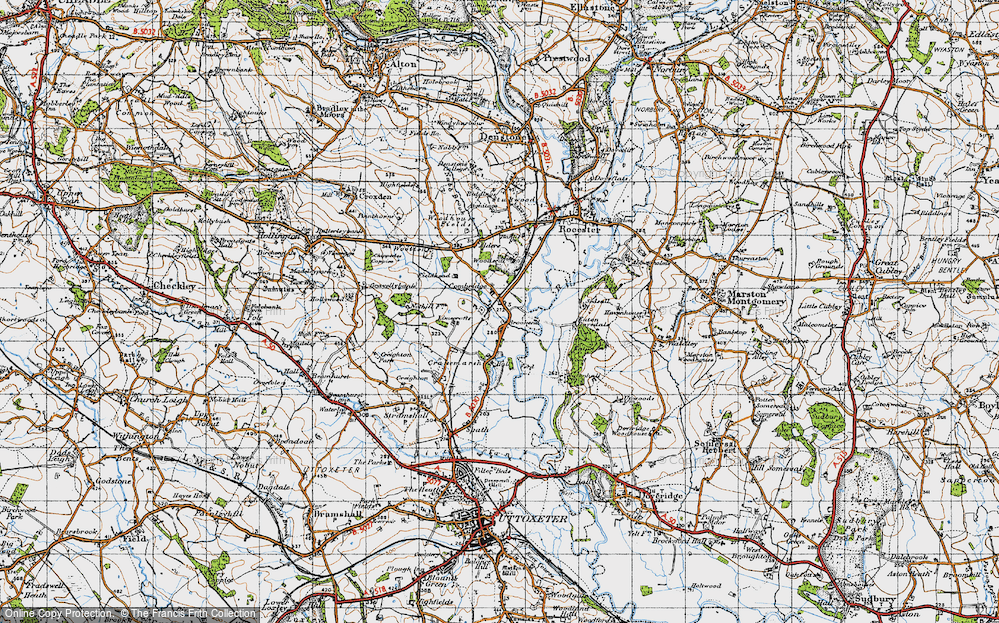 Old Map of Historic Map covering Woodseat in 1946