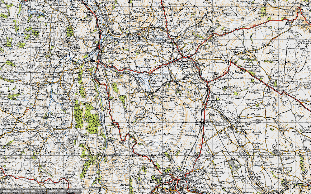 Old Map of Historic Map covering Allstone Lee in 1947