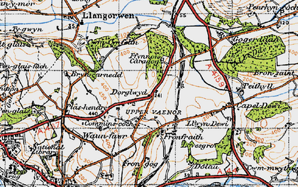Old map of Afon Clarach in 1947