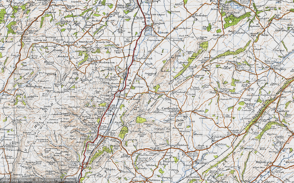 Old Map of Historic Map covering Lawley, The in 1947