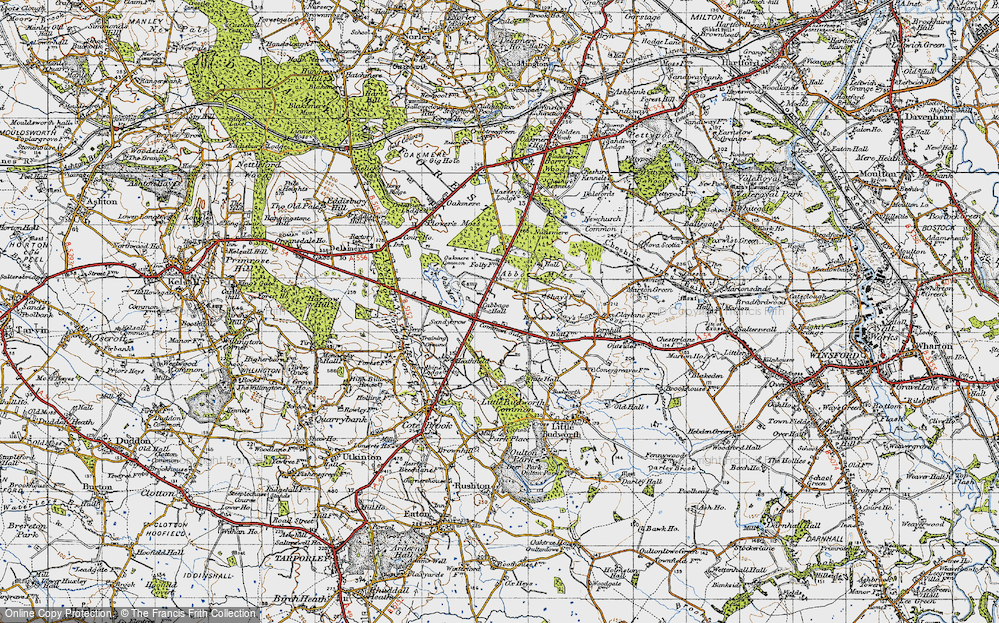 Old Map of Historic Map covering Abbots Moss in 1947